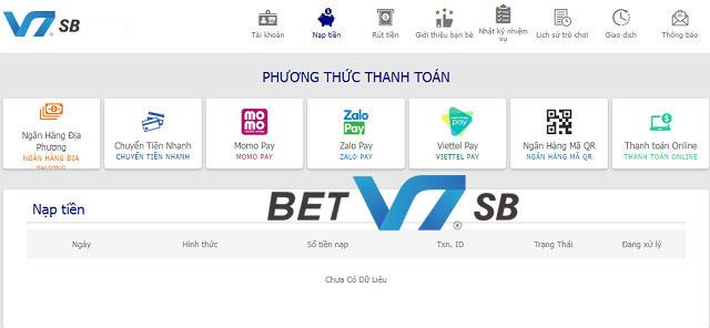 Các phương thức nạp tiền vào tài khoản V7SB