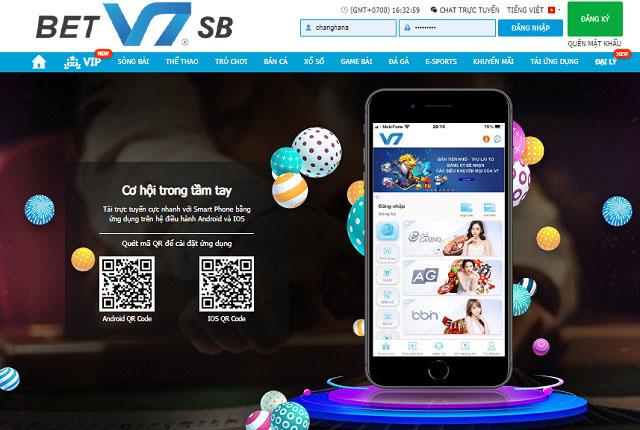 Dùng ứng dụng QR để tải app V7BET về điện thoại iOS và Android
