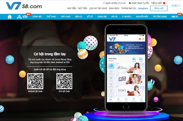 Giao diện App V7SB Mobile hiện đại