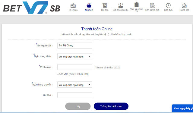 Nạp tiền bằng phương thức thanh toán online