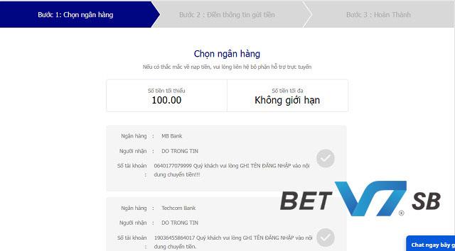 Nạp tiền tại V7BET thông qua nhiều ngân hàng uy tín