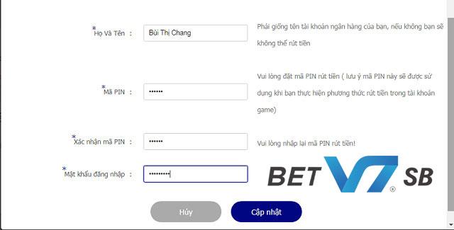 Người chơi cần cập nhật thông tin cá nhân trước khi nạp tiền V7BET