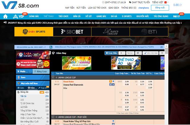 Thể Thao V7SB với các giải đấu được cập nhật liên tục