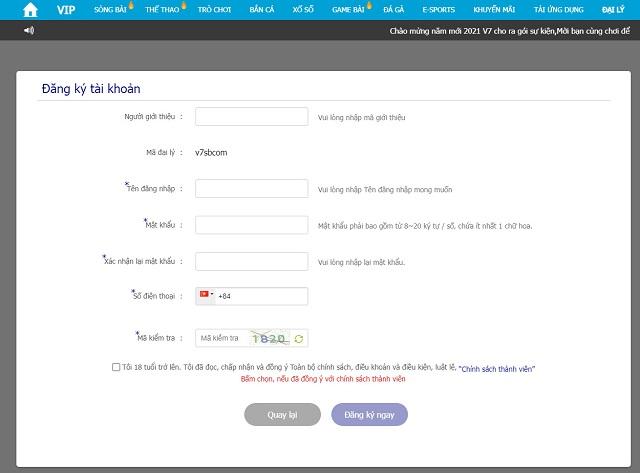 Điền vào thông tin đăng ký tài khoản V7SB