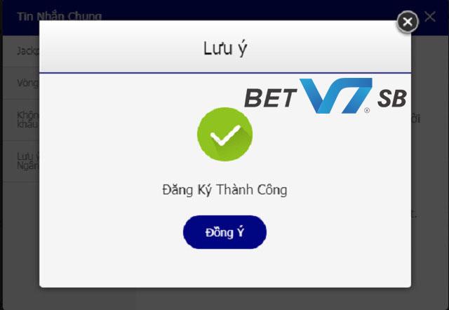 Giao diện hoàn thành việc mở tài khoản V7SB