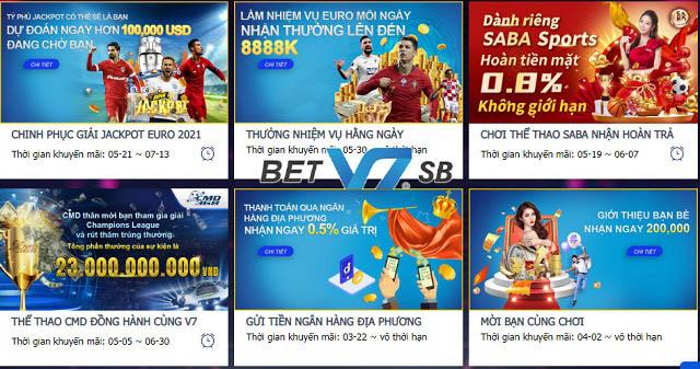 Người chơi luôn được nhận thưởng lớn khi cá cược V7SB
